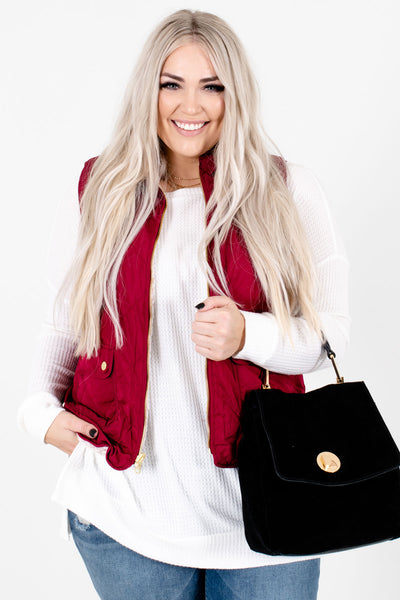 Women's Wine Red Boutique Vest with Pockets