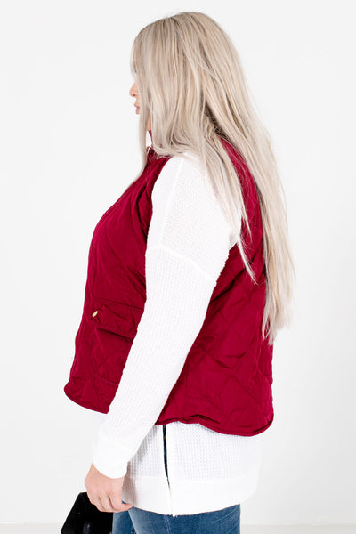 Wine Red Zip-Up Front Boutique Vests for Women
