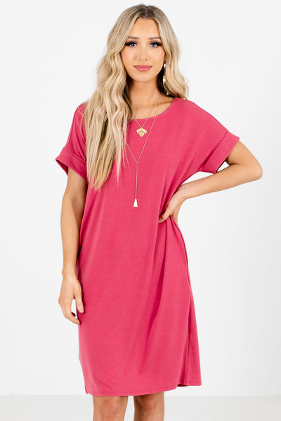 Pink Comfortable Relaxed Fit Boutique Knee-Length Dresses for Women