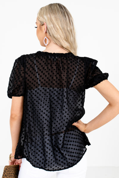 Women's Black Semi-Sheer Blouse Blouse