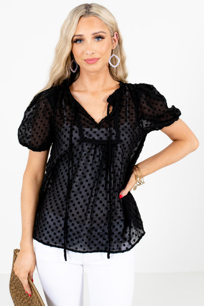 Black Pleated Accented Boutique Blouses for Women