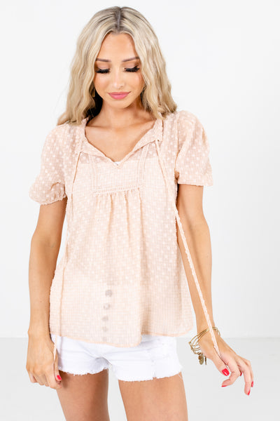 Pink Split V-Neckline Boutique Blouses for Women