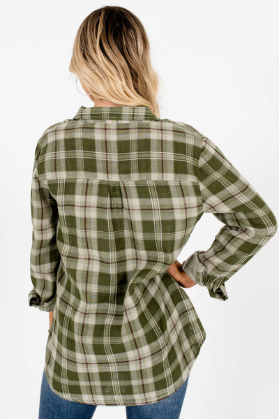 Women's Green Plaid Button-Up Front Boutique Tops