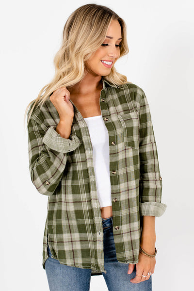 Green Plaid Front Pocket Boutique Tops for Women