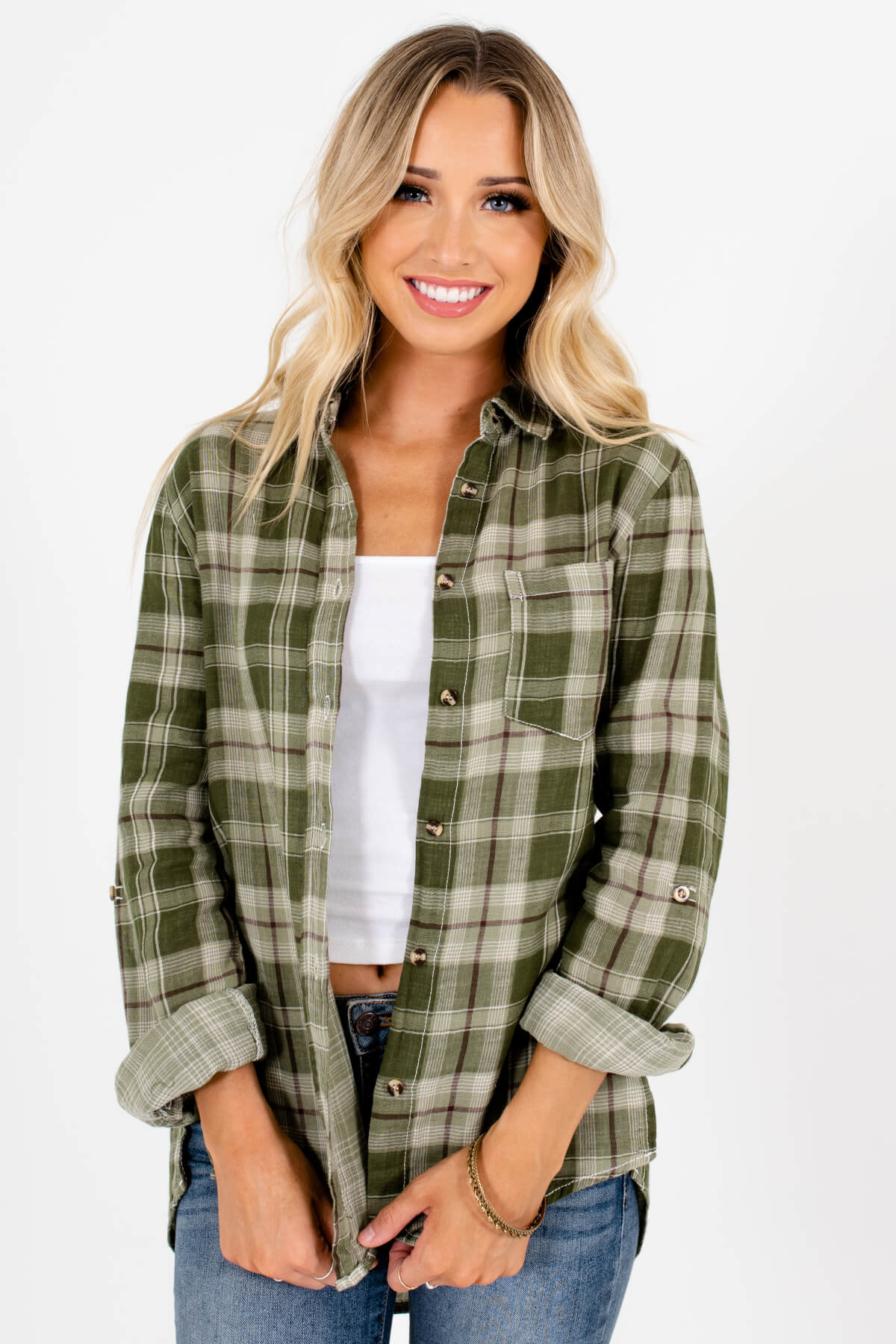 Green White and Brown Plaid Patterned Boutique Tops for Women