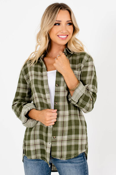 Green Plaid Cute and Comfortable Boutique Tops for Women