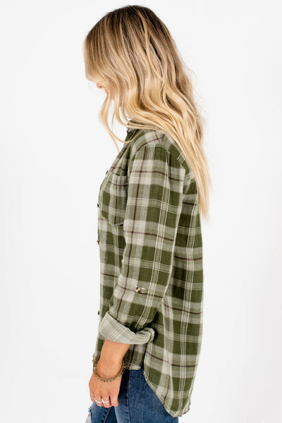 Women's Green High-Low Hem Boutique Tops