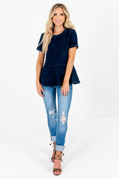 Dark Blue Distressed Detailed Boutique Tops for Women