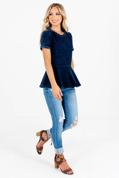 Dark Blue Cute and Comfortable Boutique Tops for Women