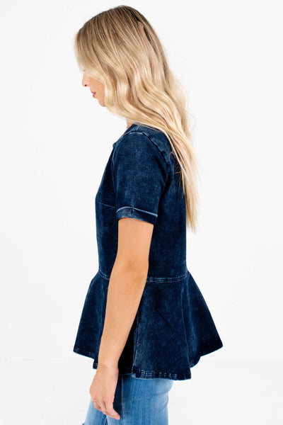 Dark Blue Bust Dart Accented Boutique Tops for Women
