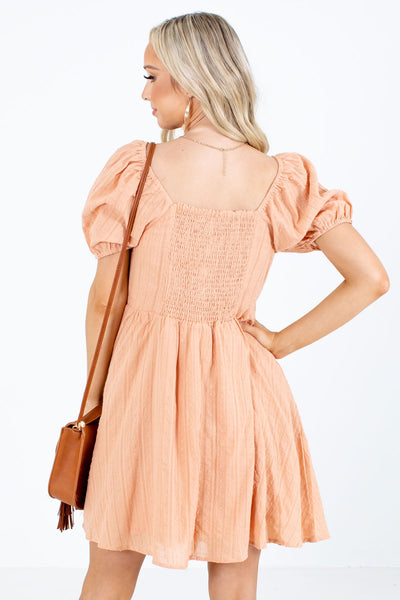 Women's Orange Puff Sleeve Boutique Mini Dress