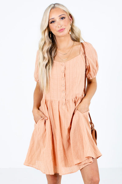 Orange Button-Up Bodice Boutique Mini Dresses for Women
