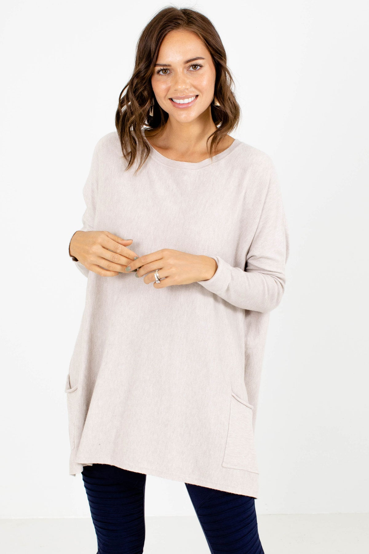 Beige Front Pocket Boutique Sweaters for Women