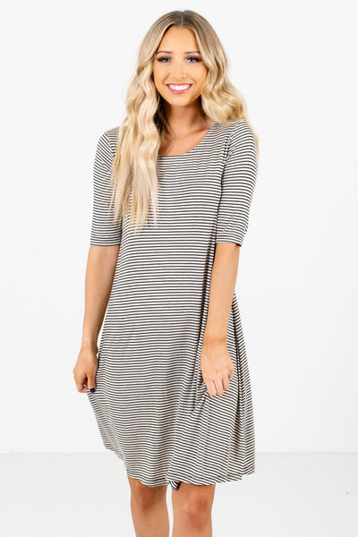 Black and Cream Striped Boutique Knee-Length Dresses for Women