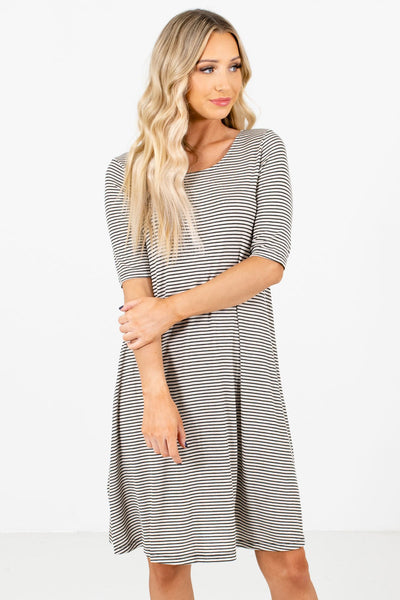 Women's Black ½ Length Sleeve Boutique Knee-Length Dress