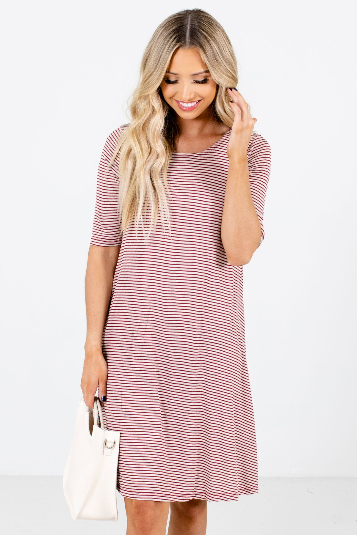 Red and Cream Striped Boutique Knee-Length Dresses for Women