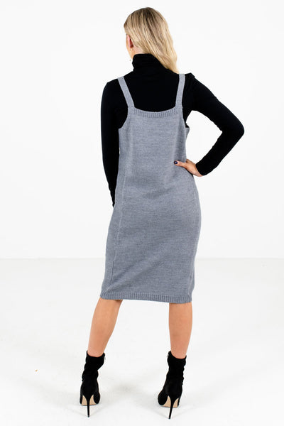 Women's Gray Knee-Length Boutique Dress