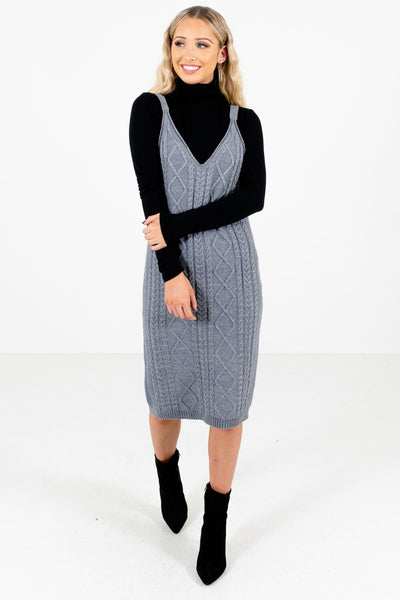 Women's Gray Warm and Cozy Boutique Knee-Length Dress