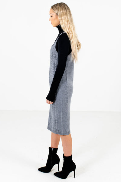 Gray V-Neckline Boutique Knee-Length Dresses for Women