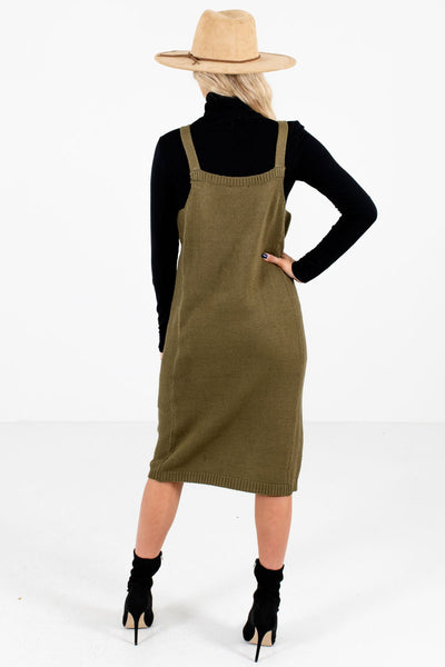 Women's Olive Green Knee-Length Boutique Dress