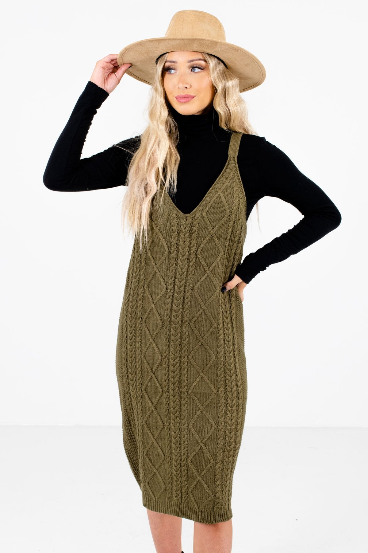 Olive Green High-Quality Knit Material Boutique Dresses for Women