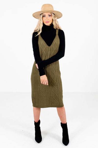Women's Olive Green Warm and Cozy Boutique Knee-Length Dress