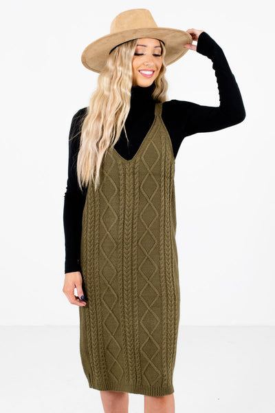 Women's Olive Green Tank Style Boutique Knee-Length Dress