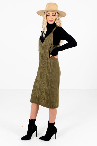 Olive Green V-Neckline Boutique Knee-Length Dresses for Women