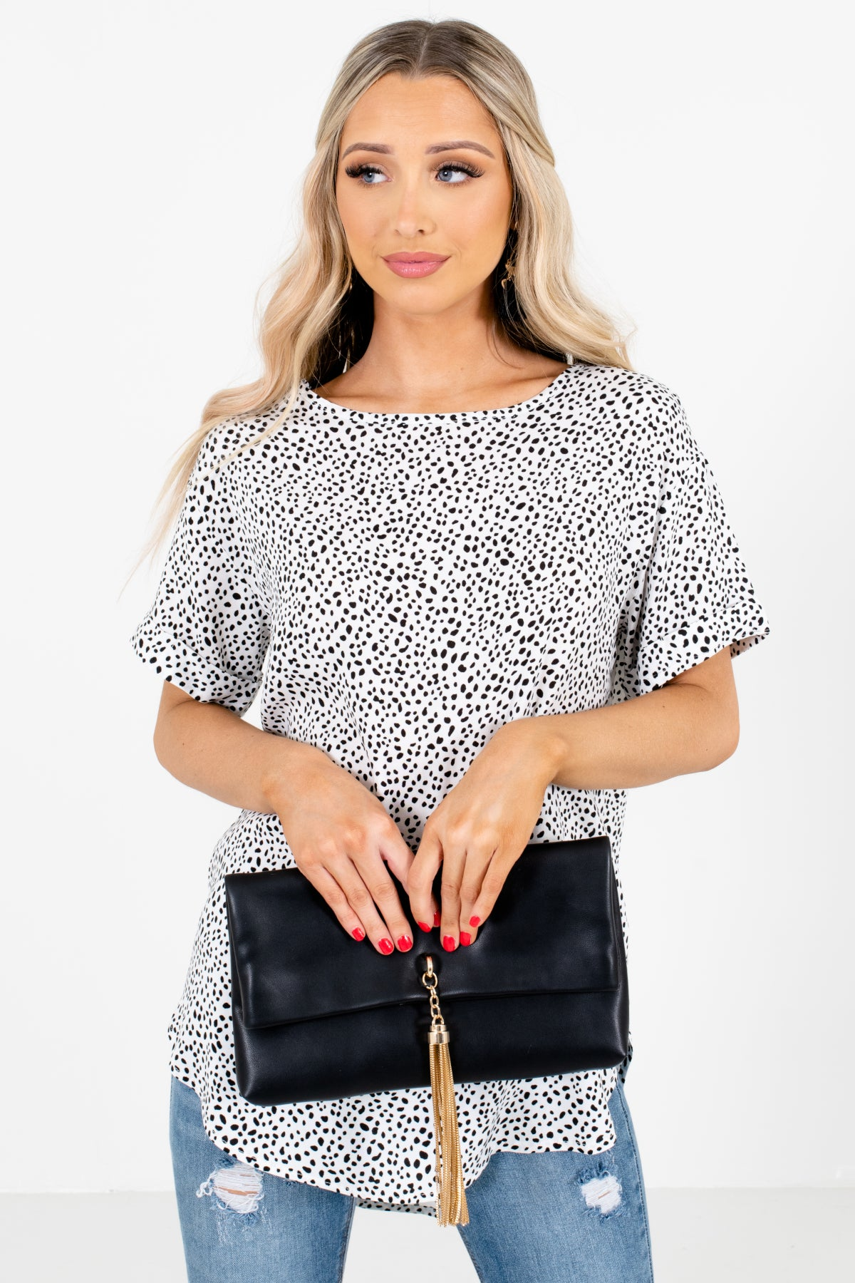 White Abstract Polka Dot Patterned Boutique Blouses for Women