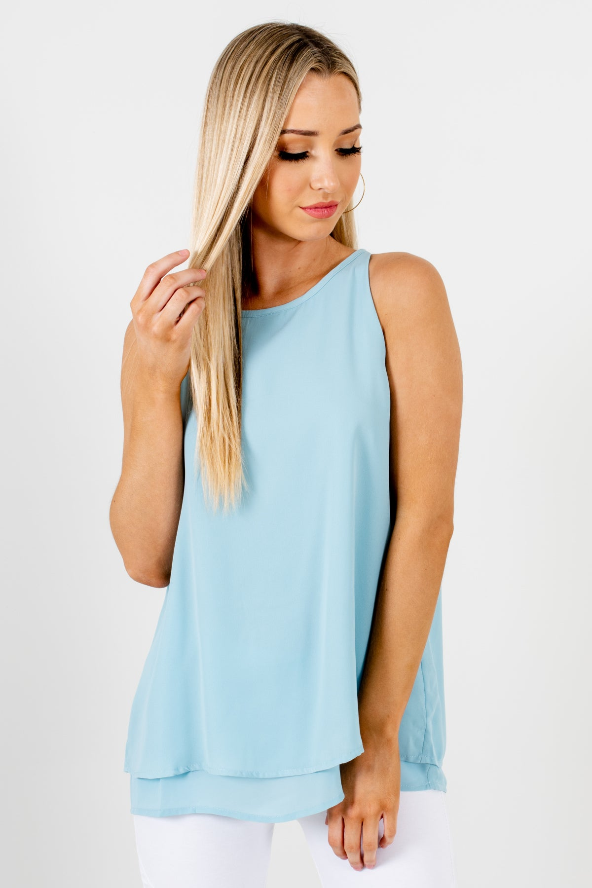 Light Blue Tank Style Double Layered Blouses Womens Business Casual