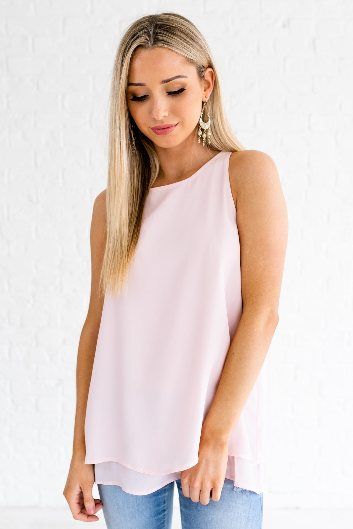 Blush Pink Layered Tank Style Blouses Womens Business Casual
