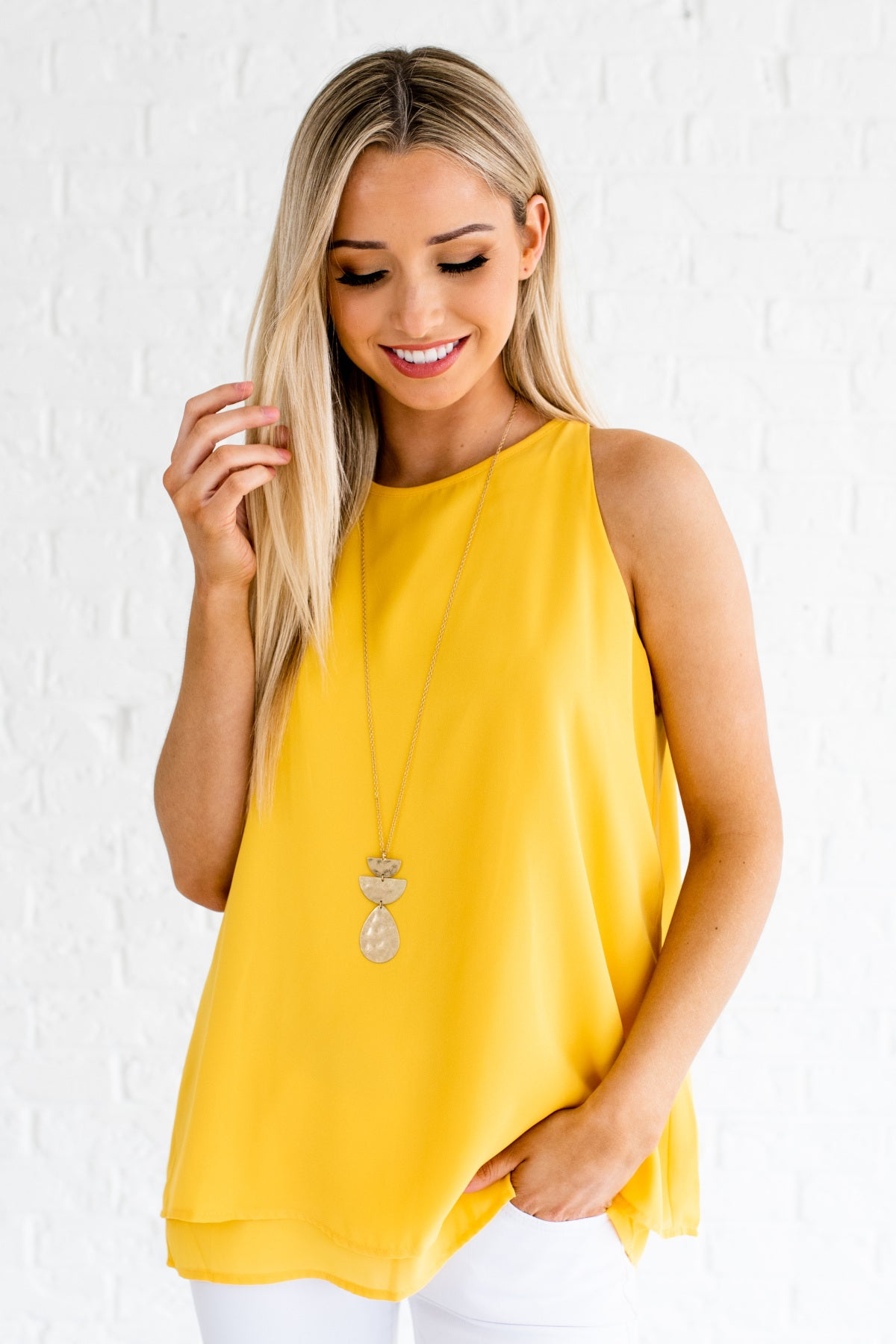 Goldenrod Yellow Layered Tank Blouses Womens Business Casual Fashion