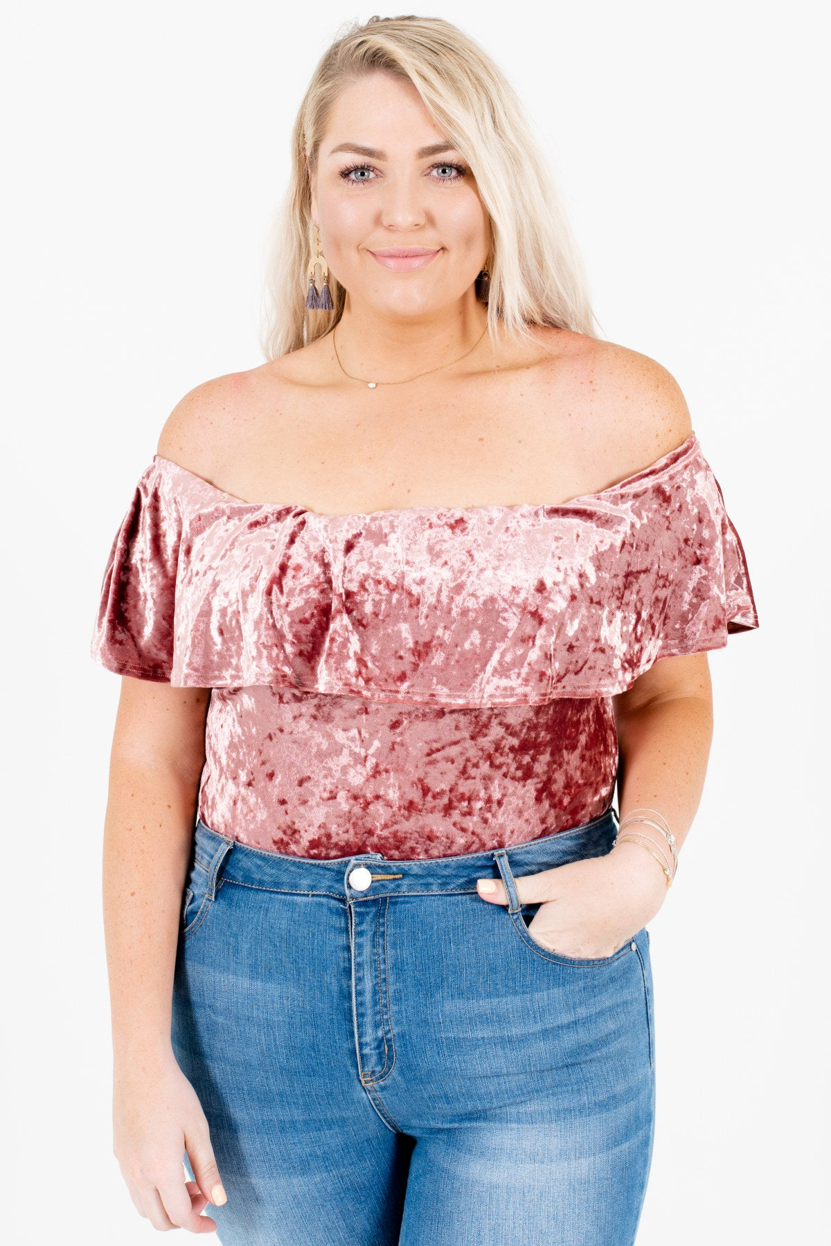 Pink Velvet Plus Size Off Shoulder Bodysuits Affordable Online Boutique