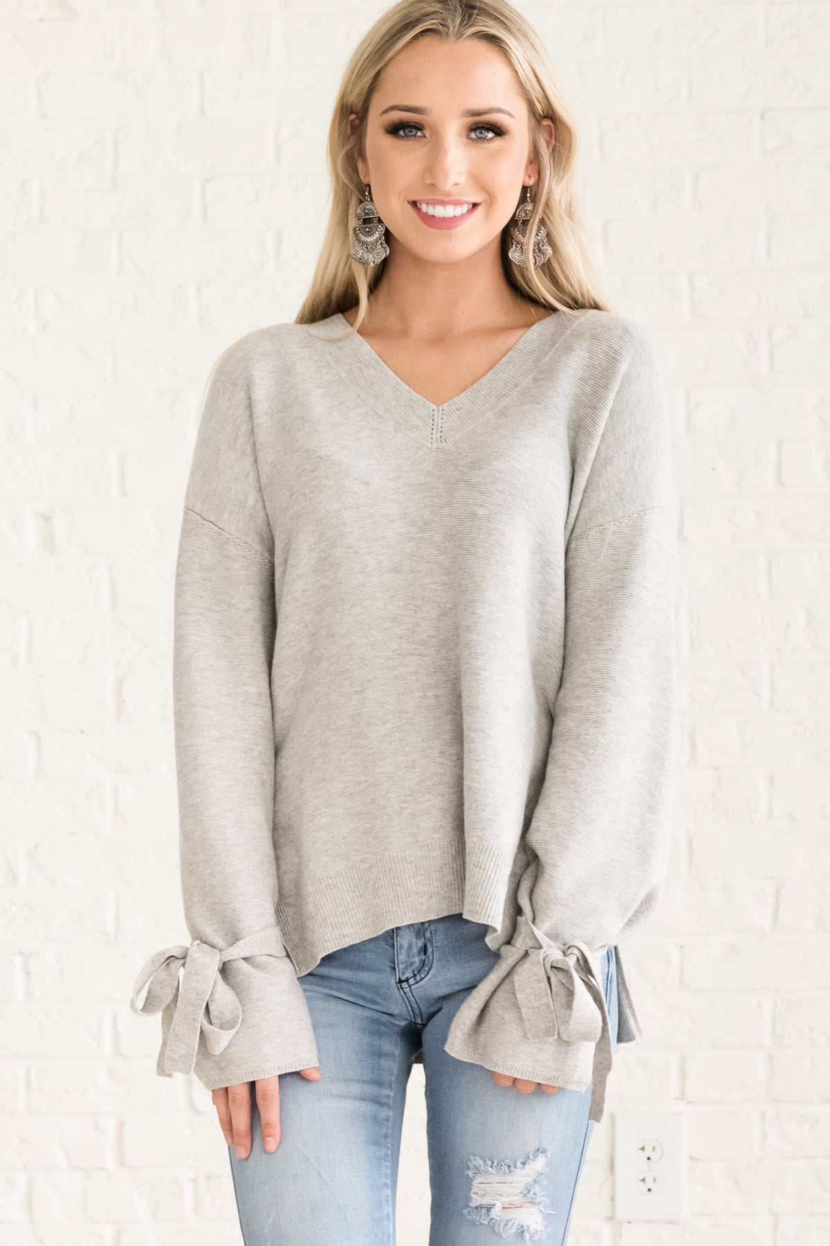 Gray Cute Cozy Warm Long Sleeve Sweaters for Women