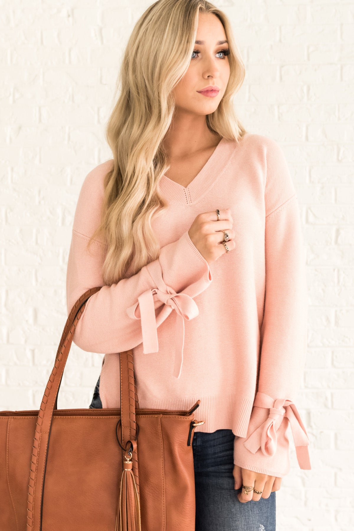 Pink Long Sleeve Cute Tie Cozy Warm Sweaters for Women