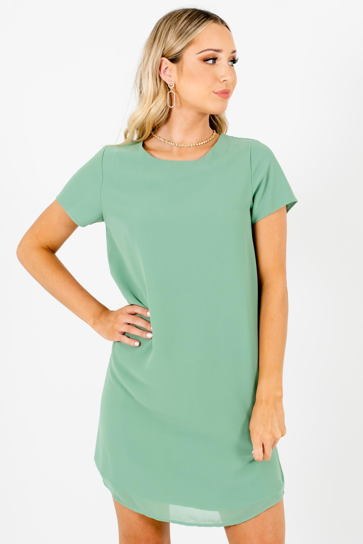 Light Green Straight Silhouette Short Sleeve Mini Dresses for Women