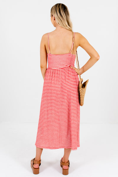 Women's Red and Cream Striped Boutique Midi Dress with Front Pockets