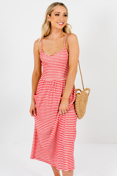 Women's Red and Cream Striped Flowy Boutique Midi Dress