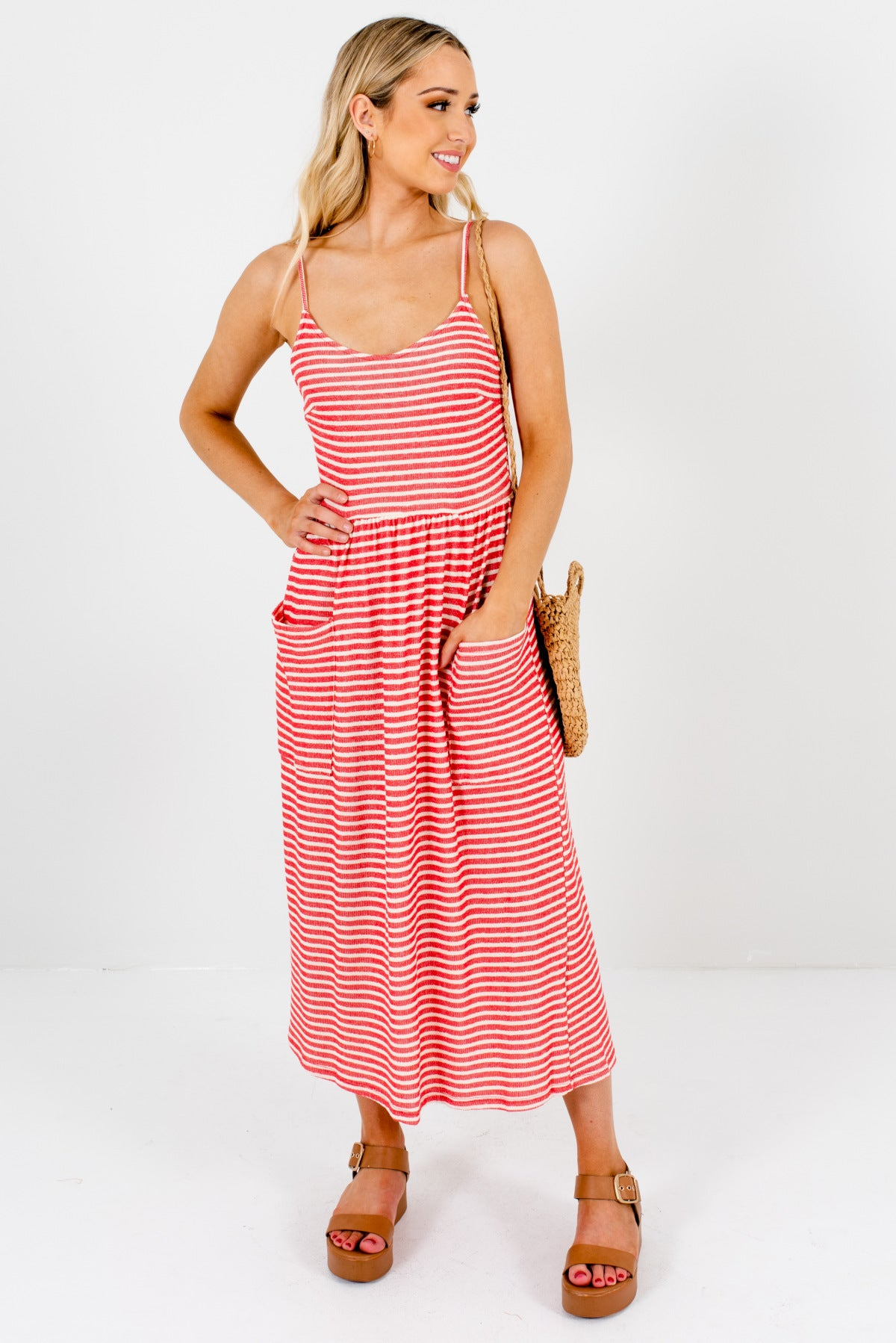 Red and Cream Striped Patterned Boutique Midi Length Dresses for Women