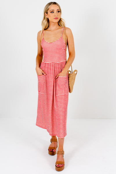 Red and Cream Striped Tank Style Boutique Midi Dresses for Women