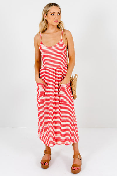 Red and Cream Striped Cute and Comfortable Boutique Midi Dresses for Women