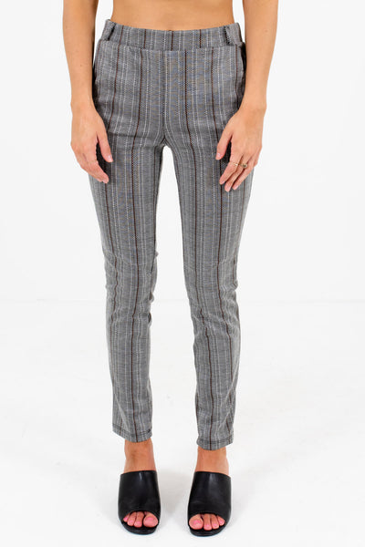 Gray Unique Striped Patterned Boutique Pants for Women