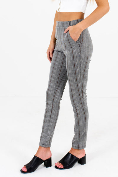 Gray Patterned Boutique Pants with Pockets for Women