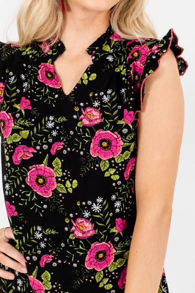 Black Magenta Green Floral Print Boutique Mini Dresses for Women