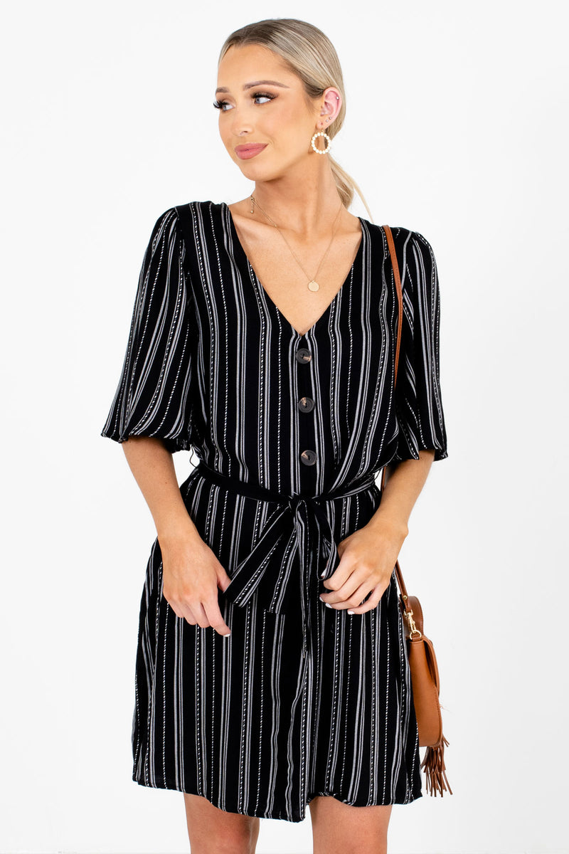 Nice Things Black Striped Mini Dress