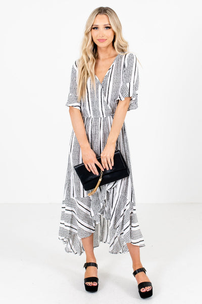 White and Black Patterned Boutique Midi Dresses for Women