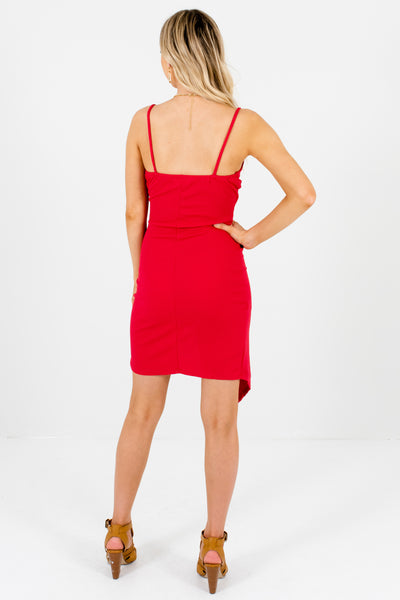 Red Asymmetrical Hem Faux Wrap Mini Dresses for Parties