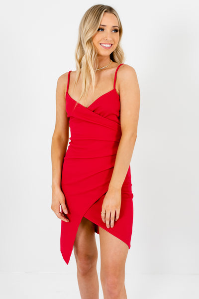 Red Faux Wrap Bodycon Mini Dresses Affordable Online Boutique