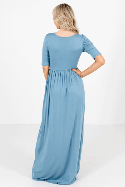 Women's Blue Elastic Waistband Boutique Maxi Dress