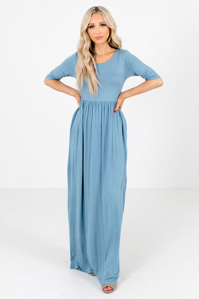 Blue 3/4 Length Sleeve Boutique Maxi Dresses for Women